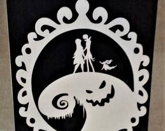 Nightmare Before Christmas Sign, Wood Sign, Jack and Sally, Zero, Oogie Boogie Man, Home decor