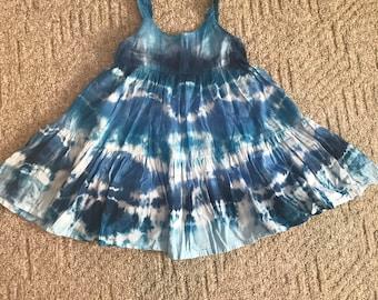 Girls size 6 blue cotton gauzy tie dye dress ready to ship!
