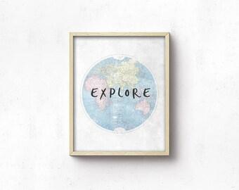 World Map PRINTABLE Wall Art - Nursery Art - Blue Grey - Nursery Decor - Explore - Boy Shower Gift - Boy Nursery - Playroom Decor - SKU:9430
