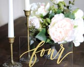 NEW* Acrylic Wedding Table Numbers with Stands, Gold Calligraphy Table Numbers, Calligraphy Table Numbers, Rustic Wedding, Modern Wedding