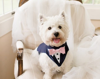 Navy dog Wedding Tuxedo, Navy Dog Outfit. Navy Dog Formal Attire. Dog wedding bow tie, Dog bandanna, dog wedding suit, dog collar , dog tie