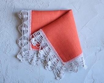 Orange Flax Napkin with Crochet Edging - Crochet Lace Napkin, Rustic Napkin, Table Mat Doily, Cloth Napkins, Flax Napkin,Rustic Table Linens