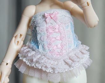 Blue and pink detailed lace corset for Realfee