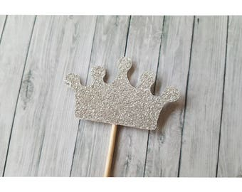 12 Crown Cupcake Toppers; Silver Glitter Cupcake Toppers