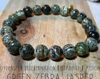 Green Zebra Jasper bracelet. Zebra Jasper inspires optimisim, determination, stability, and action.