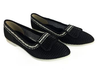 Vintage 60s Black Open Knit Economy Flats Size 5 1/2 // Never Worn // Deadstock // Pointed-Toe // 1960s // Womens // Summer // Slip-Ons