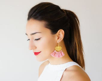 Pink Tassel Earrings Tassel Jewelry Chandelier Earrings Statement Jewelry Gold Earrings Boho Earrings Bohemian Jewelry/ TASHIA