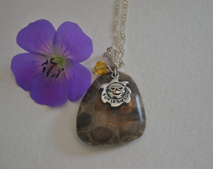 Petoskey Stone pendant with sterling sun charm and Swarovski crystal, Michigan necklace, Up North