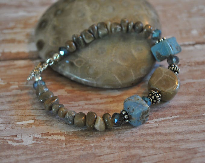 Leland Blue Stone and Petoskey bracelet with sterling silver and crystals Up North, Michigan bracelet