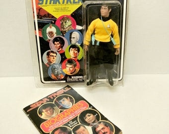 Vintage Book Star Trek II Biographies by William Rotsler Autographed by Walter Koenig & Action Figure Reproduction of Lt. Sulu Retro Doll
