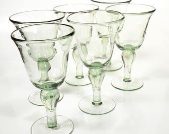 Vintage Mid Century Large Green Hand Blown Margarita Glasses - Set of 6