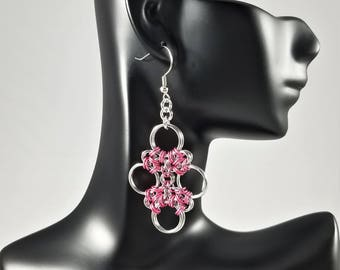 Japanese Cross Chainmaille Earrings, Homemade Jewelry