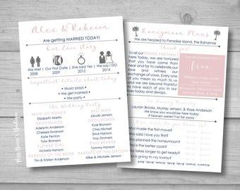 Wedding Program - Funny wedding program - Entertaining wedding program - laid back wedding - DIY wedding program - Wedding template
