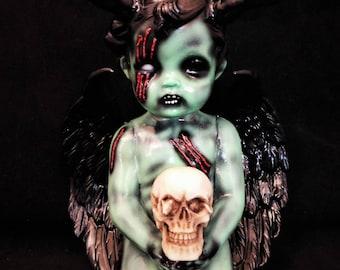 "7"" OOAK Ceramic Winged Devil wth Skull"
