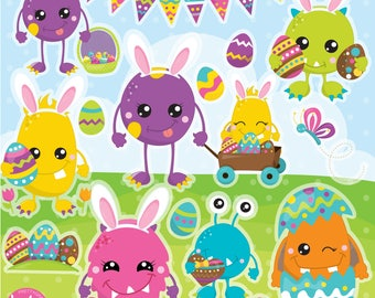 80% OFF SALE Easter Monster clipart commercial use, easter friends vector graphics, easter  digital clip art, digital images  - CL1131