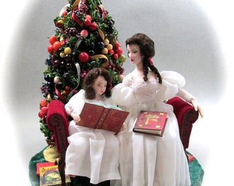 READING The Night Before Christmas OOAK Porcelain Miniature Dolls Presents Books Christmas Tree Settee Velvet