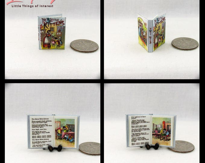 THREE LITTLE KITTENS Miniature Book Dollhouse 1:12 Scale Readable Illustrated Book Lost Mittens Meow Miew Purr Mommy