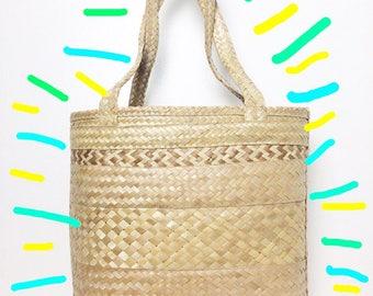 Tan Woven Straw Tote Bag/ Market Bag