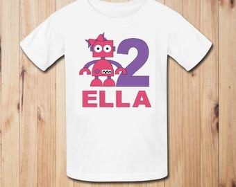 Robot Girl Birthday Party Shirt