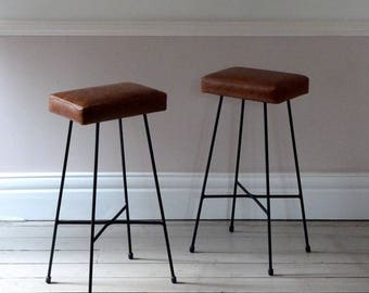 Pair of Tan Leather Bar Stools