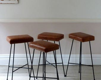 Set of Four Tan Leather Bar Stools