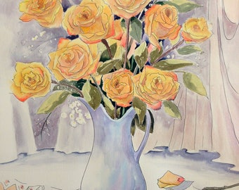 Yellow Roses In A Blue Pitcher watercolor painting