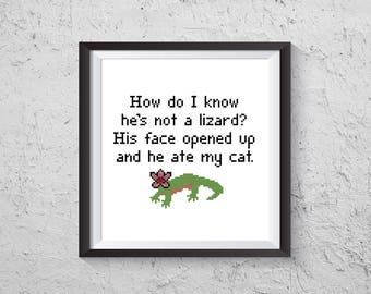 He Ate My Cat - Stranger Things 2 Inspired Cross Stitch PDF - Instant Download