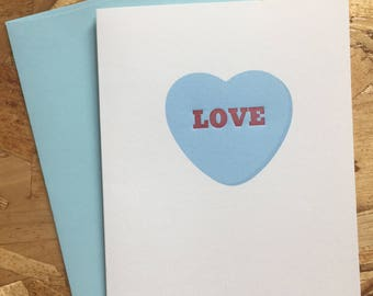 LOVE Letterpress Valentine's Day Card