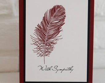 With Sympathy Feather Hand Made Card, Sorry For Your Loss Note Card, Thinking of You Card, Masculine Sympathy, Sympathy Thoughts
