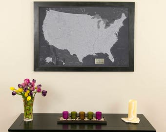 Executive US Travel Map With Pins And Frame Push Pin - Usa travel map with pins