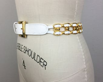 Vintage White Leather and Gold Metal Link Belt 80s 90s