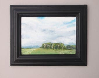 Oil Painting Trees Green Fields Grey White Clouds Blue Sky English Countryside Outdoors Hillside Tracks Art Framed Matt Black Canvas Board