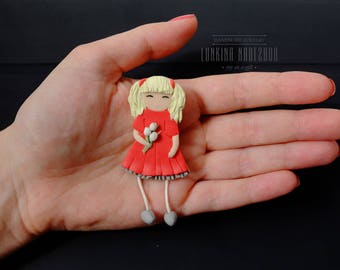 Red white polymer clay doll brooch kawaii cute gift for her