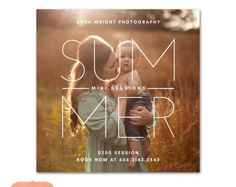 Mini Session Photography Marketing board Instagram - Summer Minis MSU006 - Photoshop template INSTANT DOWNLOAD