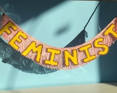 FEMINIST Glittering Fringe Banner by FUN CULT   feminist wall banner, feminist wall decor, feminist letter garland, feminist decor