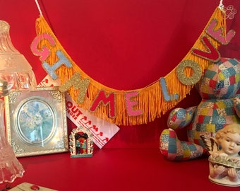 Gimme Love Fringe Banner | fringe garland, fringe wall art, glittering fringe banner, fringe wall banner, fringe wall decor, home wall decor
