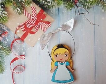 Alice in Wonderland Christmas Ornament, Disney Princess, Elsa, Cinderella, Rapunzel, Jasmine, Snow White, Belle, Aurora, Moana, Tiana, Ariel