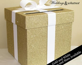 Gold Glittered Wedding Card Box with Bow