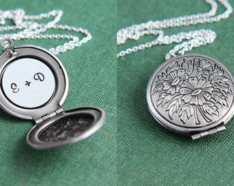Initial Necklace, Personalized Locket Necklace, Silver Floral Locket Necklace, Initial Locket, Monogram Necklace, Anniversary Gift for Her