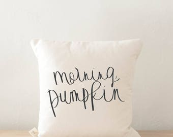 Throw Pillow - Morning Pumpkin, calligraphy, home decor, fall decor, housewarming gift, cushion cover, throw pillow, seasonal pillow