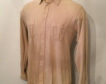 Vintage MENS 60's Enro for Linden tan 'velvety' long sleeve shirt, size L