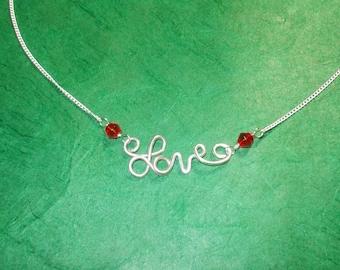 LOVE Red Crystal Adjustable Necklace (D)