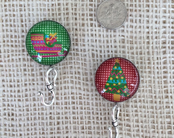 Knitting Pin Pair - Magnetic Knitting Pin for Two-Color Portuguese Knitting - Christmas Motifs