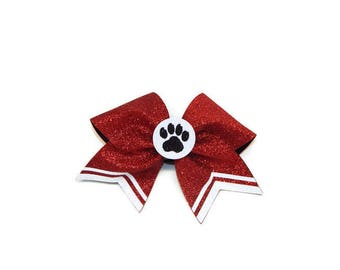 3D Center Paw Print Cheer Bow