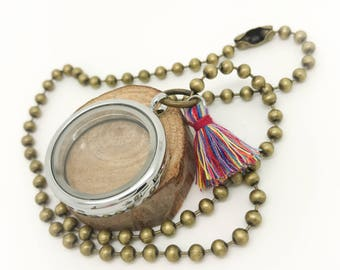 30mm Floating Locket - brass ball chain with rainbow tassel