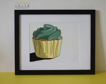 "The Green Cupcake - 8"" x 10"" Art Print"