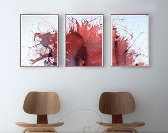 Set of 3- Abstract ink painting- Art, abstract art, nature, minimal art, red star, explosion, triptych, minimalist art, modern art, original