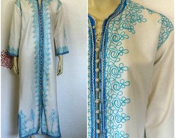 Vintage Kaftan Dress | Moroccan Kaftan | White Kaftan | Duster | Maxi Dress | Cotton Caftan | Embroidered Kaftan | Beach Caftan