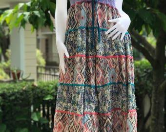DR0048 Elastic Smocked Bodice,blue smocked bodice, Maxi Dress Maxi Dress smock, smock maxi dress dyed cotton  / Maxi dress