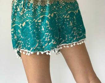 PP0109 Pom pom Shorts Beach Summer pants Freshy pants Fashion short Chic Clothing Aztec Ethnic Bohemian Ikat Boxers Short Pants Unique